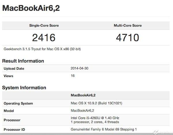 benchmarks MacBook Air mediados 2014
