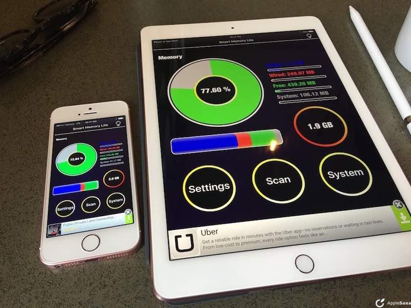 iPhone SE y iPad Pro de 9.7 tienen 2GB de memoria RAM pero sólo puedes usar 400MB