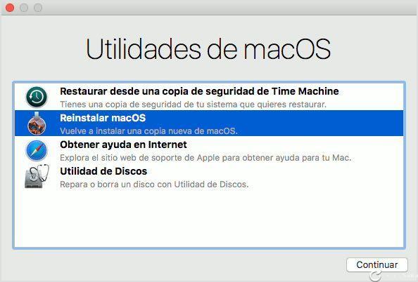 Nuevos atajos de teclado en macOS 10.12.4 para reinstalar desde cero